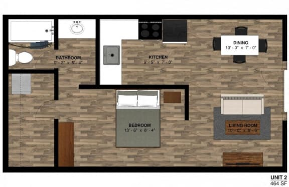 1 bed 464 sqft Floor Plan at -The Lodge-, Colorado, 80303