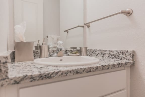 Renovated Bathrooms With Quartz Counters at -The Lodge-, Boulder, Colorado