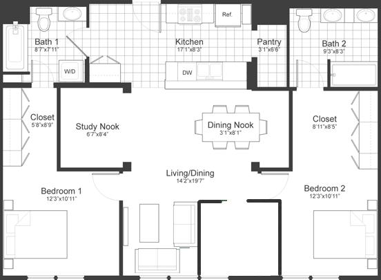 Floor Plan at Park87, Massachusetts, 02138