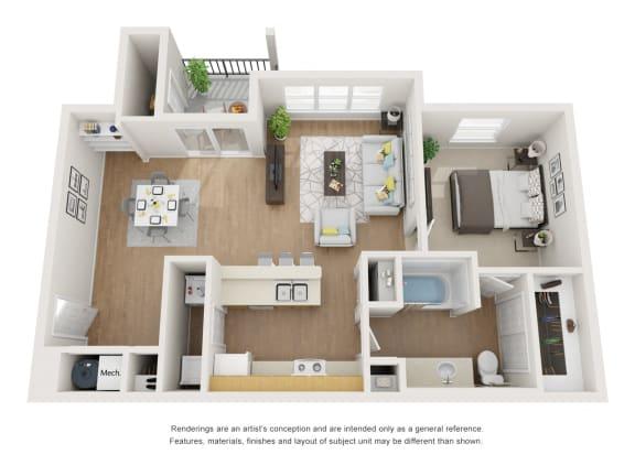 Floor Plan  Fernleaf Floor Plan at Maple Knoll Apartments, Indiana, 46074