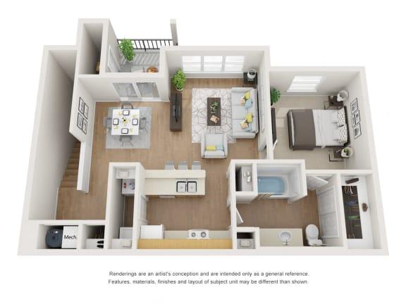 Floor Plan  Hawthorne Floor Plan at Maple Knoll Apartments, Indiana, 46074