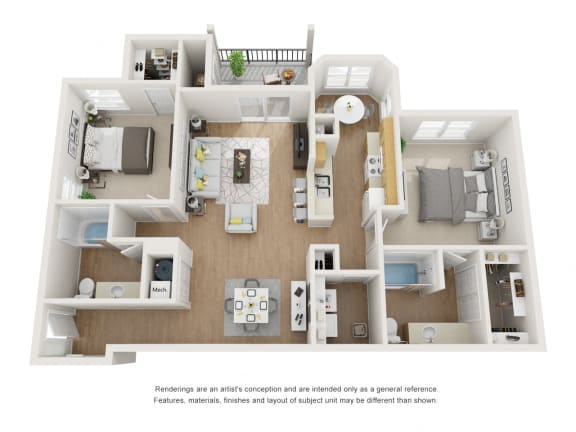 Floor Plan  Sycamore Floor Plan at Maple Knoll Apartments, Indiana, 46074
