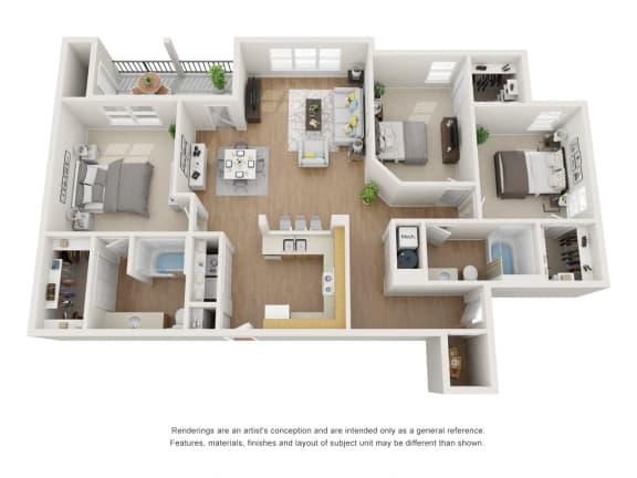 Floor Plan  Threeflower Floor Plan at Maple Knoll Apartments, Indiana, 46074