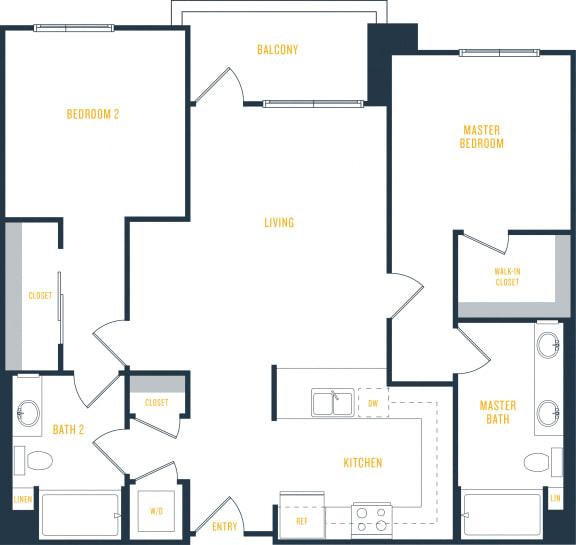 Plan 17 - 2 Bedroom 2 Bath Floor Plan Layout - 1093 Square Feet