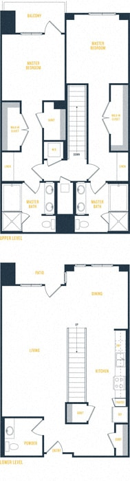 Plan 18 Townhome - 2 Bedroom 2.5 Bath Floor Plan Layout - 1777 Square Feet