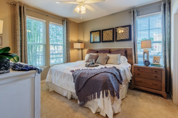 Nona Park Village Apartments pool area ceiling fans in living rooms and bedrooms