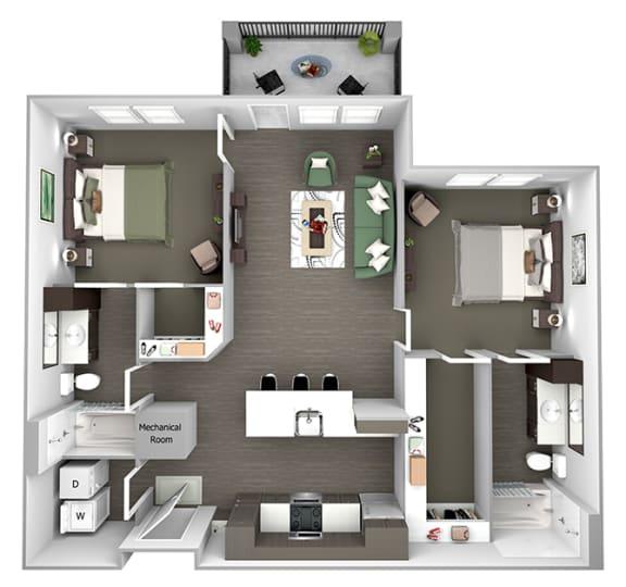 Nona Park Village - B2 (Jasmin) - 2 bedroom - 2 bath - 3D Floor Plan