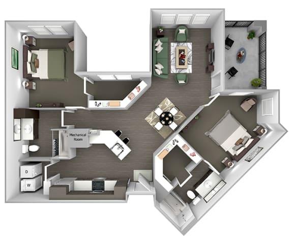 Nona Park Village - B4 (Plumeria) - 2 bedroom - 2 bath - 3D Floor Plan