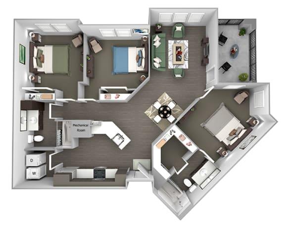 Nona Park Village - C2 (Water Lily) - 3 bedroom - 2 bath - 3D Floor Plan