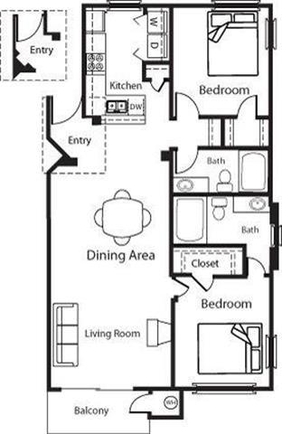 Floor Plan  Andalusian - 2 Bedroom 2 Bath Floor Plan Layout - 1114 Square Feet
