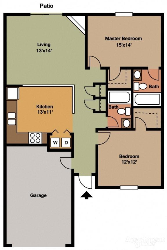 2 Bed, 2 Bath Floor Plan at Shenandoah Properties, Lafayette, Indiana