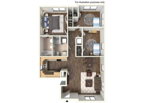 Floor Plan  RiverWatch Apartments Susquehanna 3 Bedroom Floor Plan