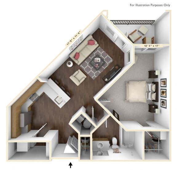 A1 - 1 Bed - 1 Bath Floor Plan at Avant Apartments, Carmel, IN