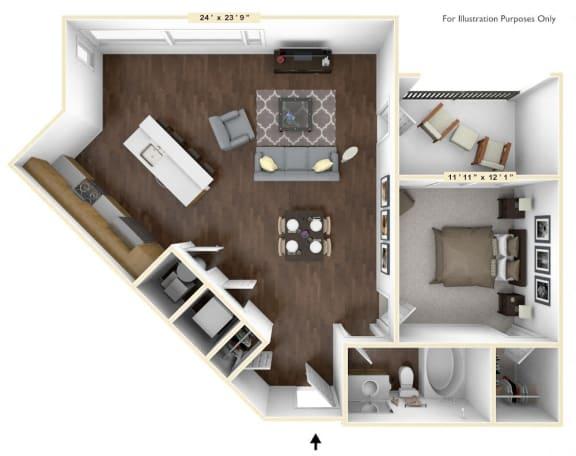 A3 - 1 Bed - 1 Bath Floor Plan at Avant Apartments, Carmel, Indiana