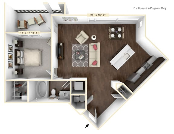 A4 - 1 Bed - 1 Bath Floor Plan at Avant Apartments, Carmel