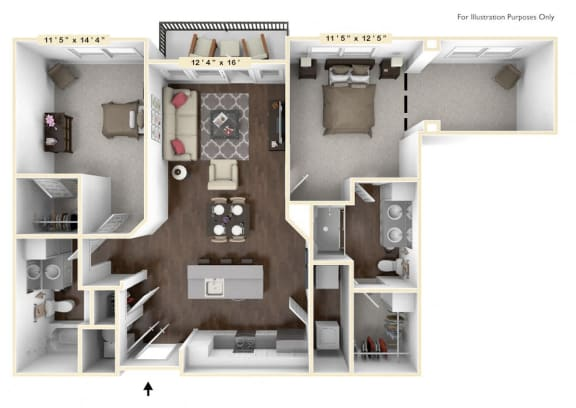 B3 - 2 Bed - 2 Bath With Den Floor Plan at Avant Apartments, Carmel, 46032