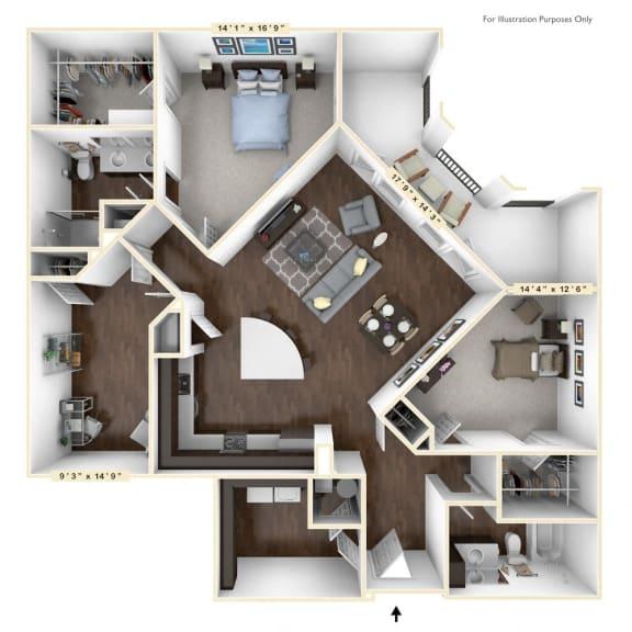 B4 - 2 Bed - 2 Bath With Den Floor Plan at Avant Apartments, Carmel, Indiana