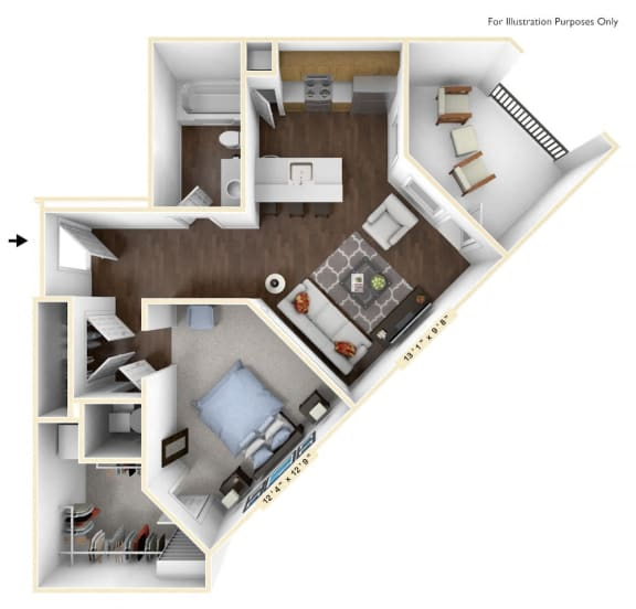 S1 - Studio Floor Plan at Avant Apartments, Indiana, 46032