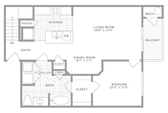 Floor Plan  A1 Loft Floor Plan at AVE Union, New Jersey