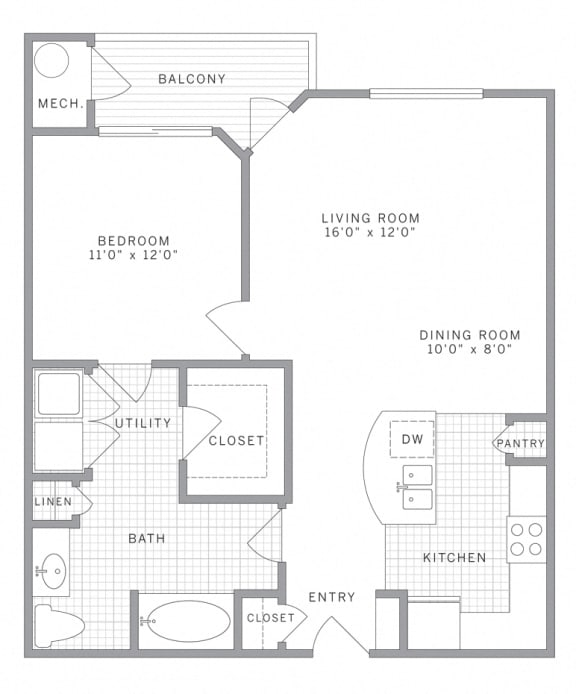 A2 Floor Plan at AVE Union, Union, NJ, 07083