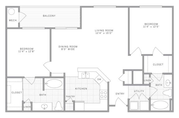 B2 Floor Plan at AVE Union, Union, NJ