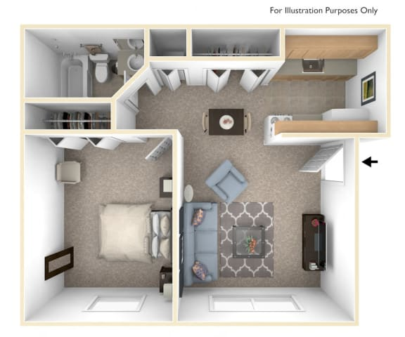 One Bedroom - Standard Floor Plan at Walnut Trail Apartments, Michigan