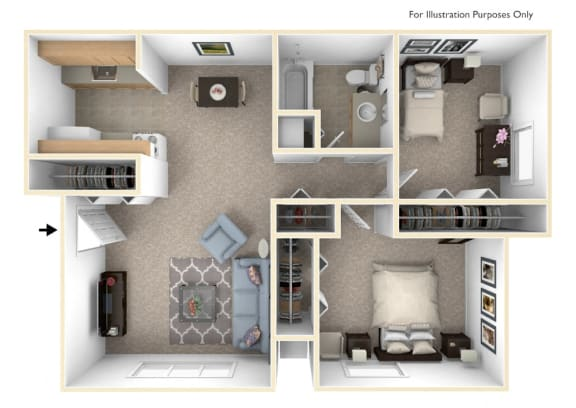 Two Bedroom - Expanded Floor Plan at Walnut Trail Apartments, Portage, MI