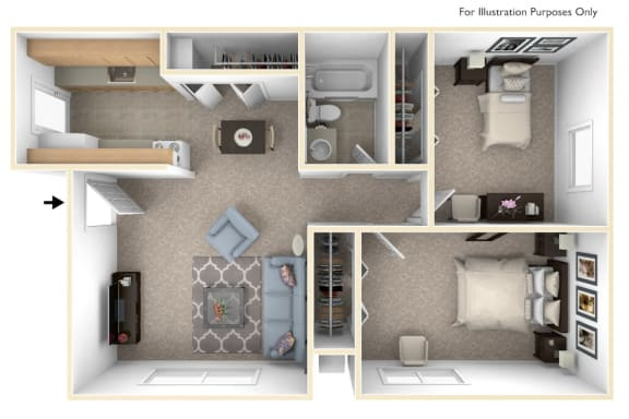 Two Bedroom - Standard Floor Plan at Walnut Trail Apartments, Portage, MI, 49002