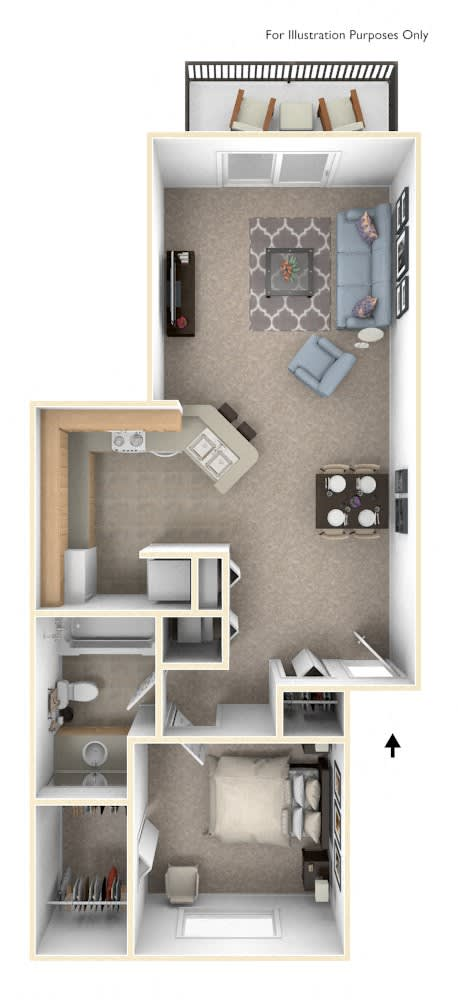 One Bedroom Alpine Floor Plan at Trappers Cove Apartments, Lansing, MI, 48910