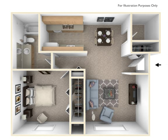 One Bedroom Seville Floor Plan at Trappers Cove Apartments, Lansing, Michigan