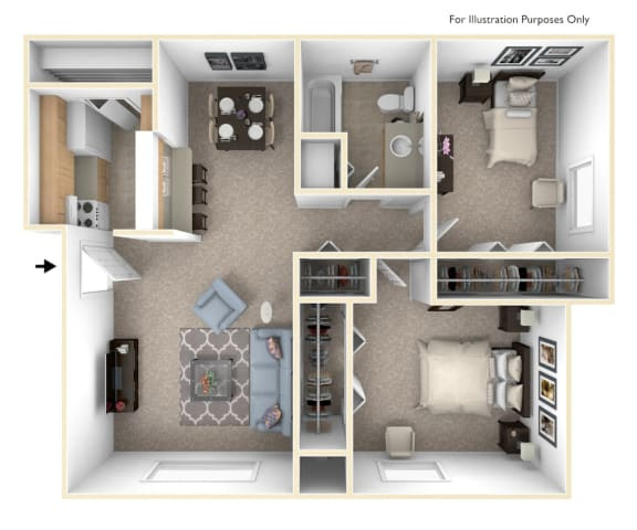 Two Bedroom Cape Cod Floor Plan at Trappers Cove Apartments, Michigan