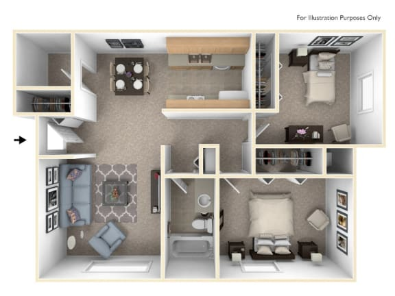 Two Bedroom Seville Floor Plan at Trappers Cove Apartments, Lansing, MI, 48910