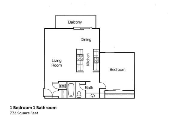 1x1 1 bedroom 1 bath Floorplan Monte Vista Apartment Homes in CA, 91750