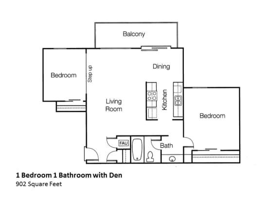 1x1 i bedroom 1 bath with den Floorplan Monte Vista Apartment Homes, 1825 Foothill Boulevard
