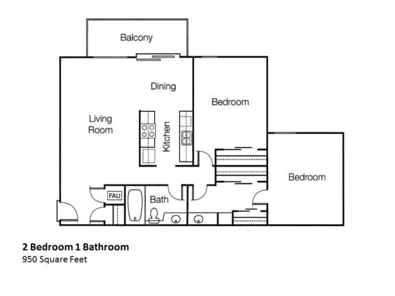 2x1 Two Bedroom One Bathroom Floor Plan, at Monte Vista Apartment Homes, 91750, California