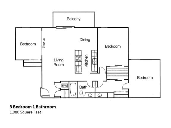 3x1 3 Bedroom One Bathroom, at Monte Vista Apartment Homes, La Verna, CA