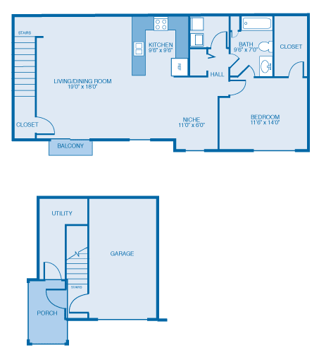 Everett Floor Plan at Oak Hill Apartments and Townhomes, Rensselaer, NY, 12144