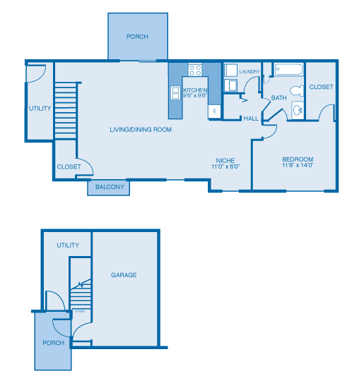 Ontario Floor Plan at Oak Hill Apartments and Townhomes, Rensselaer, New York