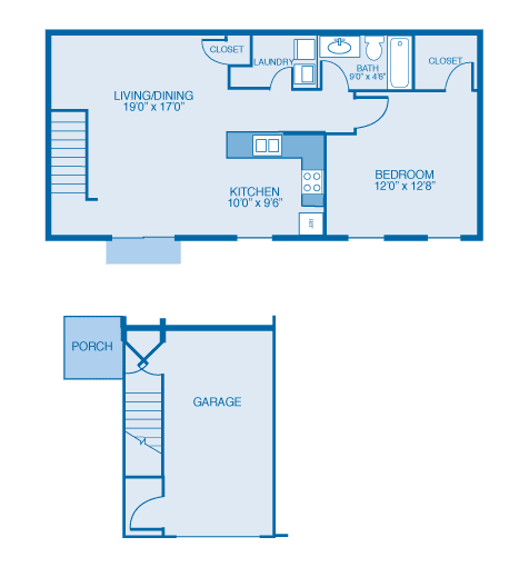 Partridge Floor Plan at Oak Hill Apartments and Townhomes, New York
