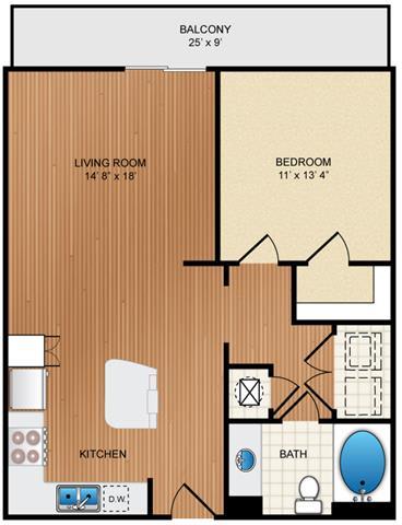 Floor Plan  1 Bed 1 Bath Floor Plan at Eon at Lindbergh, Atlanta, Georgia