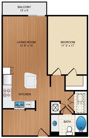 Floor Plan  1 Bed 1 Bath Floor Plan at Eon at Lindbergh, Atlanta, GA