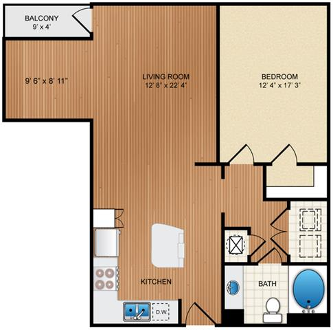 Floor Plan  1 Bedroom 1 Bathroom Floor Plan at Eon at Lindbergh, Atlanta, 30324