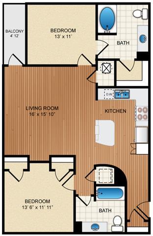 Floor Plan  2 Bedroom 2 Bathroom Floor Plan at Eon at Lindbergh, Atlanta, Georgia