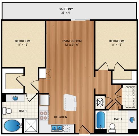 Floor Plan  2 bedroom 2 bath Floor Plan at Eon at Lindbergh, Atlanta