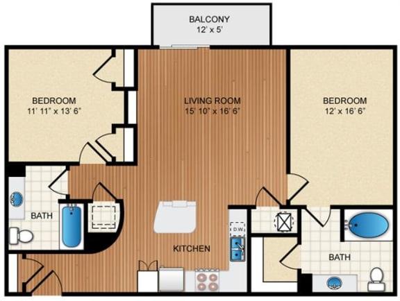Floor Plan  Two bedroom Two bathroom Floor Plan at Eon at Lindbergh, Atlanta, GA, 30324
