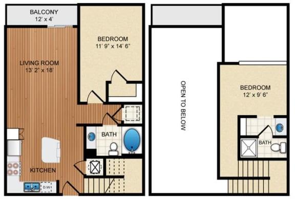 Floor Plan  2 Bedroom 2 Bathroom Floor Plan at Eon at Lindbergh, Atlanta, 30324
