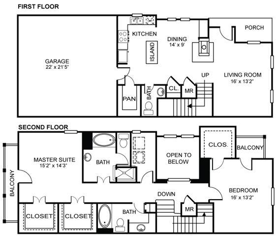 Floor Plan  2x2.5 B3 Floor Plan at Estancia Townhomes, Dallas, Texas