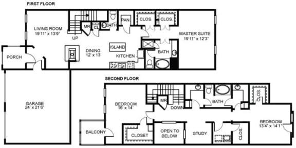 Floor Plan  3x2.5 C2 Floor Plan at Estancia Townhomes, Texas
