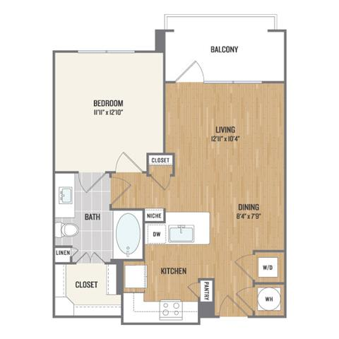 One-Bedroom Floor Plan at Berkshire Amber, Dallas, TX, 75248