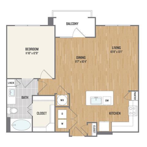 One-Bedroom Floor Plan at Berkshire Amber, Texas